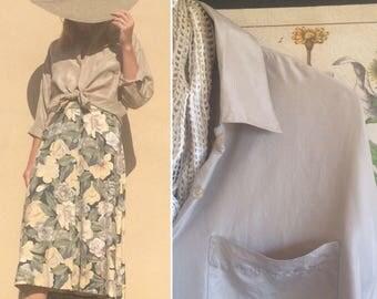 100% Silk Blouse / Vintage Button Up Shirt / 90s 1990s / Minimalist Neutral Everyday Wear
