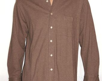 Loro PIANA, Italian casual Men's Shirts, Long Sleeve Shirt, 100% Cotton, Light Brown Melange Shirt, Italian Craftsmanship, High Quality