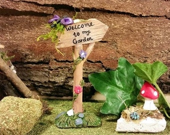 Fairy Garden Sign, Fairy Garden Accessory, Fairy Garden Miniature Sign, Terrarium Accessory, Fairy Sign, Fairy Garden Kit, Miniature Sign
