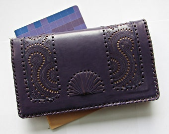 Qwipas Purple Oversized Genuine Leather Wallet Women Wallet Slim Tablet Handphone Zipper Cards Clutch Organizer Wallet Big Wallet