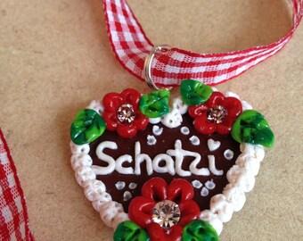 "Necklace ""Schatzi"" red Oktoberfest"