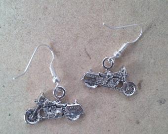 motorcycle silver earrings