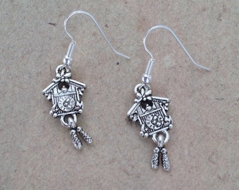 Cuckoo Clock Earrings silver