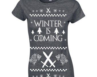 Winter is Coming Ugly Christmas Sweater game geek nerd thrones party winterfell vintage retro - Apparel Clothing - womens T-shirt - 360
