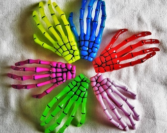 Skeleton Hand Hair Clips - Choose a Color
