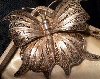 Butterfly Brooch, Vintage Butterfly Brooch, Silver Butterfly Brooch, Filigree Butterfly Brooch, Filigree Brooch, Silver Butterfly, Butterfly