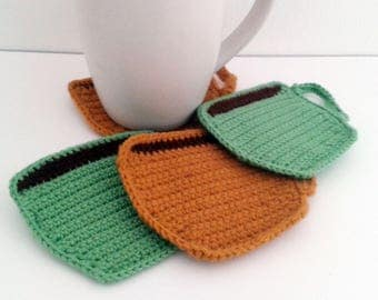 Crochet Coffee Cup Coaster Set, 4 crochet coasters with storage bag, crochet gift