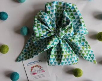 Wide Green & Blue Watercolor Triangle Headwrap - Headband - Turban - Topknot Headband - Bow Headband - Big Bow Headwrap - Adult Headwrap