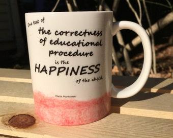 Montessori Quote Watercolor Mug (Pink)