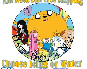 20cm Round Adventure Time Edible Image Icing or Wafer Cake Topper Kids Birthday