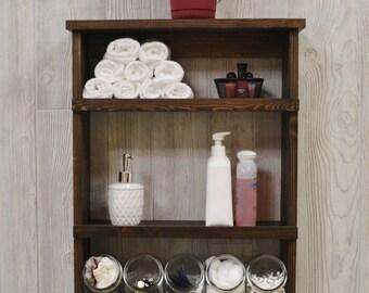 rustic bathroom shelf with glass jars farmhouse shelf bathroom organizer bathroom shelves farmhouse decor rustic shelves