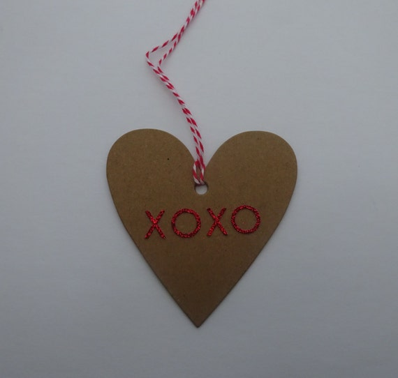 Kraft Paper Tag with Red XOXO - Luxury Handmade Gift Tags - 2F