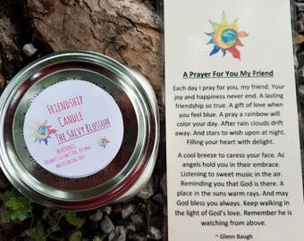 Friendship Organic Coconut Oil Candle and Poem, All Natural, Nontoxic, Paraffin, Petroleum, Chemical and Dye Free, 8oz Mason Jar