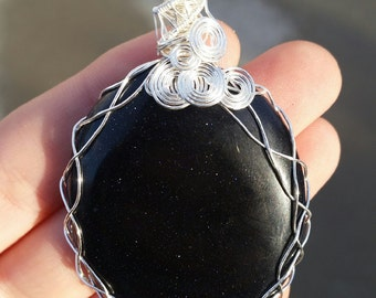 blue goldstone | wirewrap | pendant | crystal necklace |