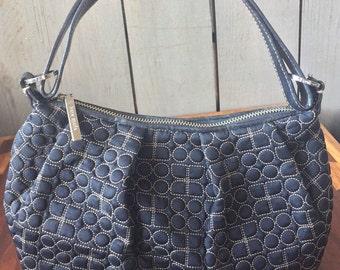 Vintage Kate Spade Black Quilted Handbag Purse, Pink Suede Lining, Leather Handle and Trim