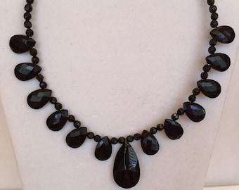 Black Shimmer Teardrop Beaded Necklace