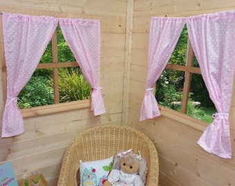 Pale Pink Dotty Playhouse Curtains