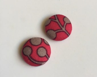 15mm Fabric Studs • Rose/Brown Pattern • Surgical Steel • fabric stud earrings • button earrings • button studs