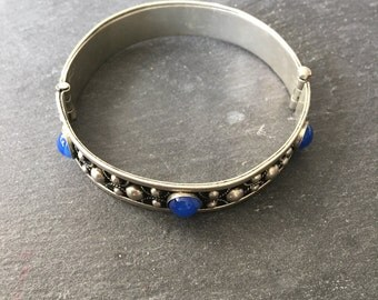 Vintage 70's Silver tone And Blue Stone Bangle