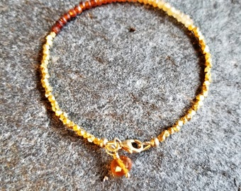 hessonite garnet/ yellow gold fill