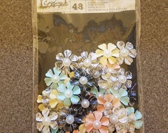 Prima Flowers, Small Prima Fabric Flowers, 48 Fabric Flowers, Colorful Prima Flowers, Scrapbook Pages, Junk Journals, Hair Clips, Headbands