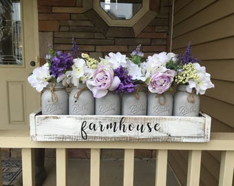 mason jar centerpiece, wedding decor, farmhouse style, farmhouse decor, 6 jar planter box, mason jar table top decor, custom decor, purple