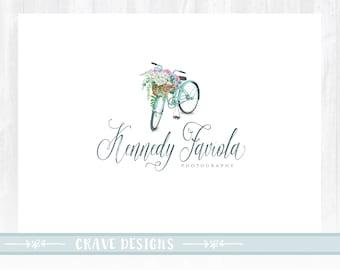 bike logo watercolor flower logo photography logo premade logo event planner logo lifestyle blog logo florist logo