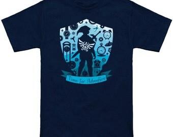 TIME FOR ADVENTURE Legend of Zelda Link Geek T-Shirt Funny Nerd Pop Culture Nintendo Switch Nes Shirt