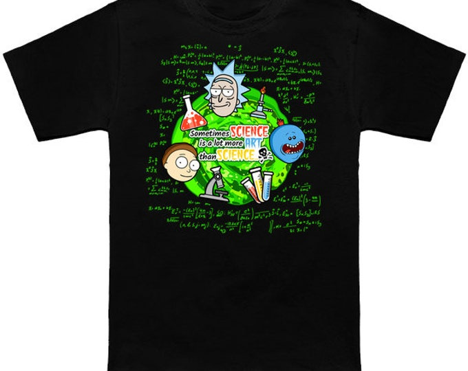 Rick And Morty Shirt SCHWIFTY SCIENCE Mr Meeseeks Geek T-Shirt Funny Parody Nerd Science Pop Culture