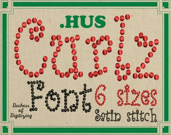 Curlz embroidery font, HUS Format, Curly embroidery font,  curlz dots, embroidery file, HUS File