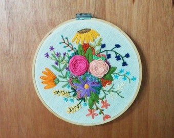 "Flowers - 6"" embroidery art hoop"