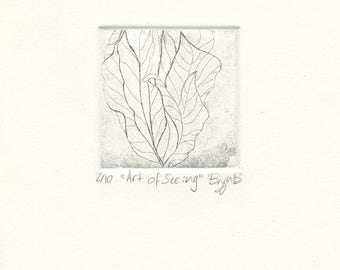 """Hand Pulled Etching Nature Art Print """"The Art of Seeing"""""""