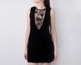 Black event dress, Velvet dress, Embroidery couture dress.