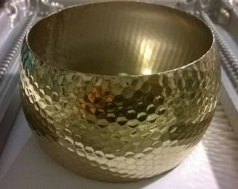 goldtone textured wide bangle bracelet boho bohemian