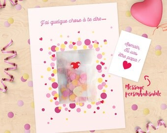 Personalized confetti, surprise, message card Announces pregnancy, marriage, future Daddy