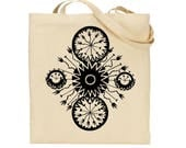 One of a Kind Long Handled Beach Tote Bag with Gorgeous Hand Drawn Art Screen Printed in Rich Black Eco Friendly Ink