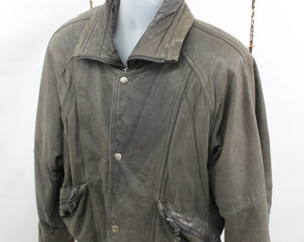 Vintage Men's Black Leather Jacket By Berman Size Small
