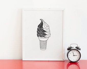 Twist Ice Cream Cone Letterpress Art Print