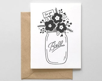 For You Mason Jar Letterpress Greeting Card