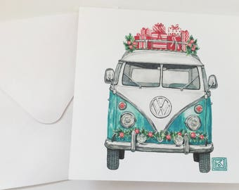 Christmas VW printed watercolor cards, set of 8 cards and envelopes,greeting cards, christmas, holiday watercolor cards, volkswagen, vintage