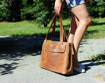 Leather tote Brown leather tote large leather tote leather tote women distressed tote bag mother gift girlfriend gift custom tote bag