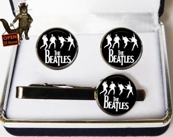 Set The Beatles Cufflinks and Tie clip,The Beatles Jewelry,Music Icons,Beatle,Gift for Beatle Fan,vinyl record,Fan The Beatles,Men's Jewelry
