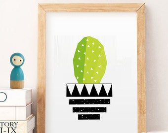 Cactus print, wall art Cactus, Succulent art print, Plant drawing, geometric plants, A4 print, Printable Poster, Scandi, PDF Prints, cactus