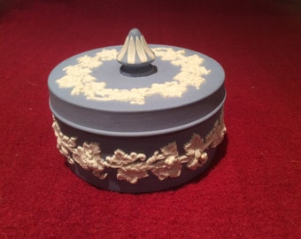 Wedgwood Blue Jasperware Trinket box with lid 7.5cm diameter