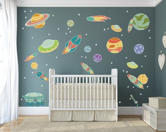 Hand Drawn Solar System Decals / Alien Space Ship Wall Decal / Outer Space Wall Decal / Flying Space Ship Decals - DASHWD10003
