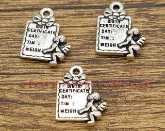 20pcs Birth Certificate Charm New Baby Charm Antique Silver Tone 15x20mm cf2072