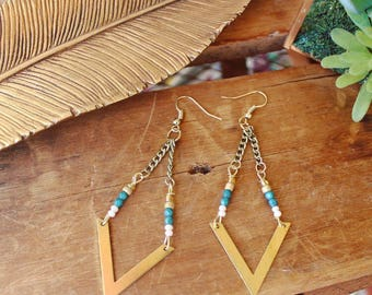 Dangle Boho beaded earrings
