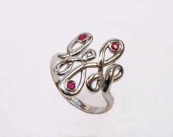 Ring Silver 925 with rubies, emeralds and sapphires, collection rigging
