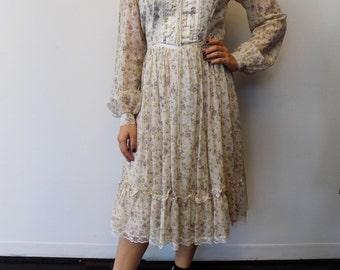 Gunne Sax Midi Floral Dress