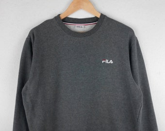 RARE!!! Fila Small Logo Embroidery Crew Neck Dark Grey Colour Sweatshirts Hip Hop Swag L Size